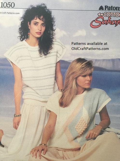 Patons 1050. Cotton Sahara - Ladies Tops for Summer Knitting Patterns