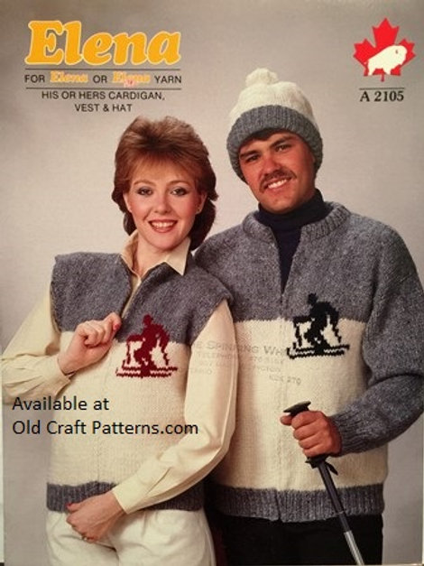 Elena 2105. His or Hers Cardigan, Vest & Hat Knitting Patterns