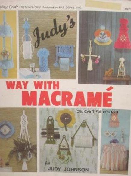 Pat Depke 1045. Judy's Way With Macrame Kitchen Bath Baby Hangers Patterns