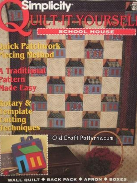 Simplicity 290. Quilt it Yourself School House - Quilting Sewing Patterns