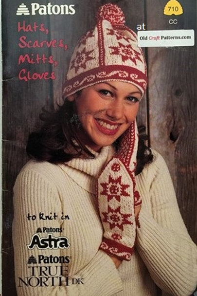 Patons 710. Hats Scarves Mitts Gloves - Knitting Patterns