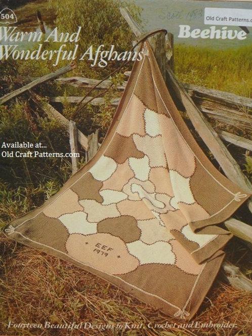 Patons 504 Warm & Wonderful Afghans Knit Crochet Patterns
