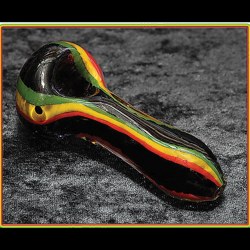 Black frit handpipe with Rasta stripes RAS-03
