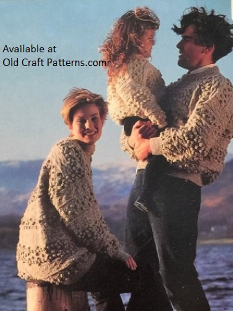 Emu 21679. Family Aran Bobble Cardigan and Pullover Sweaters - Knitting Patterns