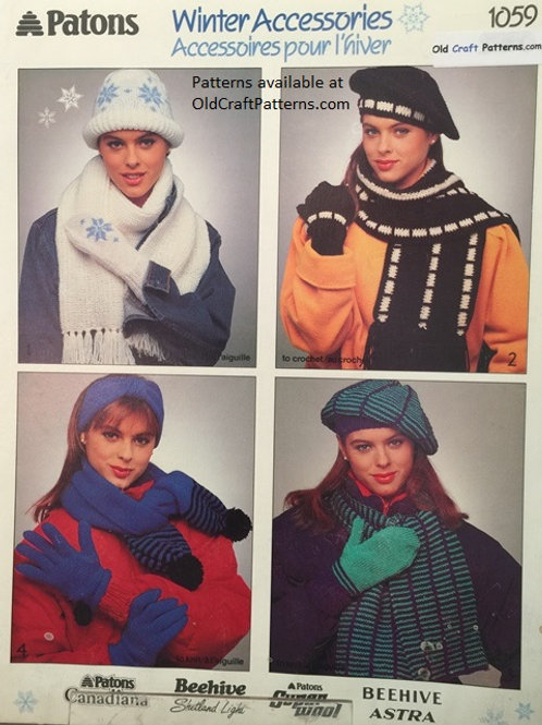 Patons 1059. Winter Accessories - Hats Scarves Mittens Knitting Patterns
