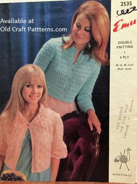 Emu 2535. Bedjackets - Sizes 32 to 40 - Knitting Patterns