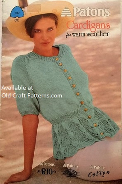 Patons 737. Cardigans for Warmer Weather - Ladies Cotton Tops Knitting Patterns