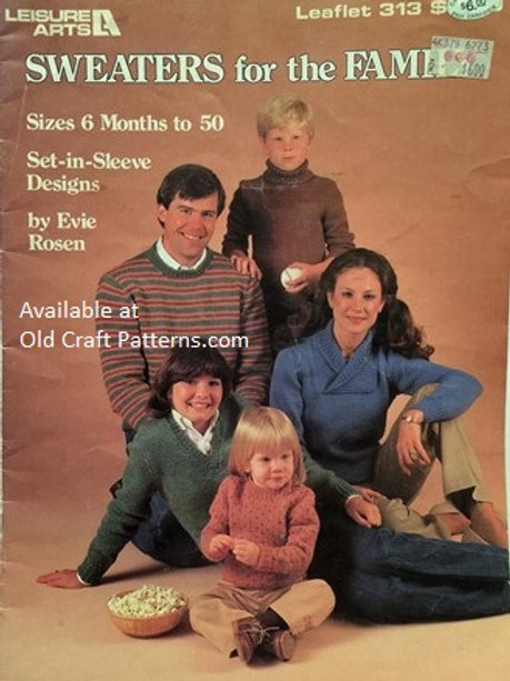Leisure Arts 313. Sweaters for the Family - Set in Sleeves - Knitting Patterns