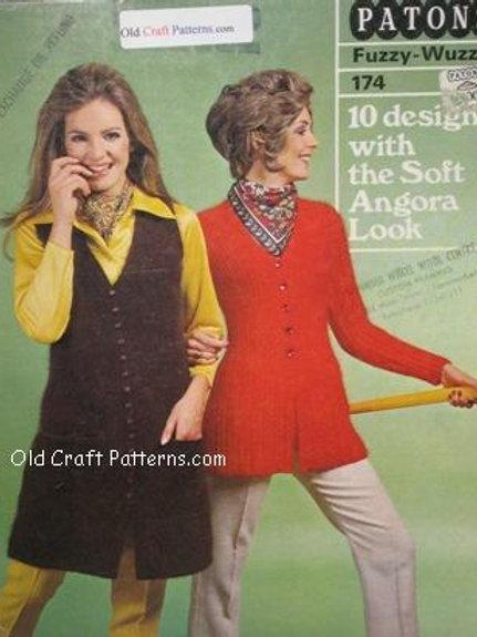 Patons 174. Designs Soft Angora Look - Jackets Sweaters Poncho Shawls Patterns