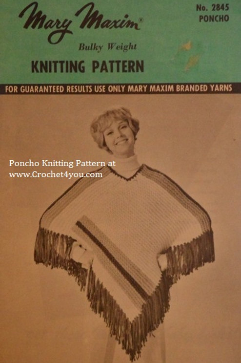 Mary Maxim 2845. Ladies Poncho Knitting Pattern