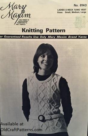 Mary Maxim 8143 Ladies Aran Knit Vest Knitting Pattern