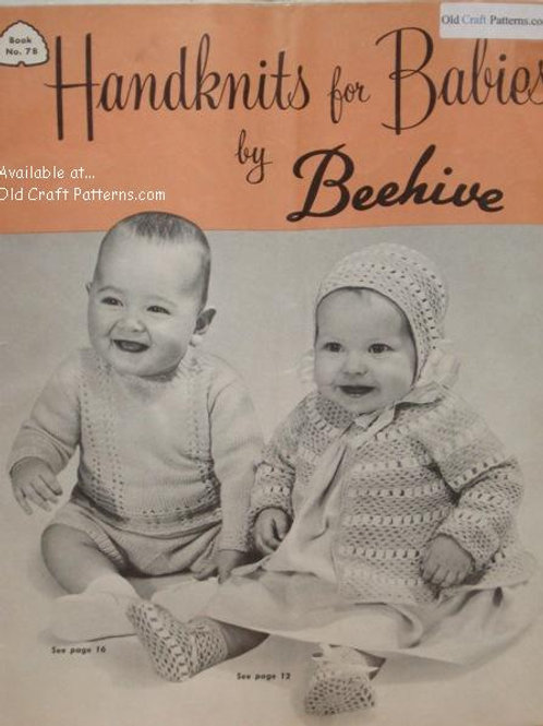 Patons 78 - Handknits for Babies Sweaters Soakers Bonnet Dress Knitting Patterns