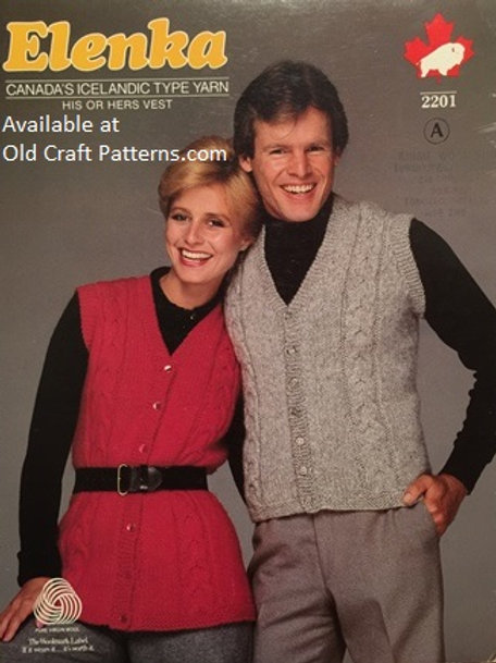Elenka 2201A. His or Hers Cardigan Cabled Vest Knitting Pattern
