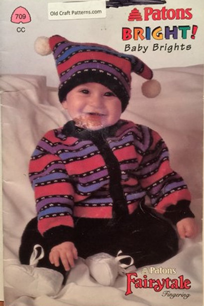 Patons 709. Bright Baby - Cardigans Pants Hats Socks Mittens Knitting Patterns