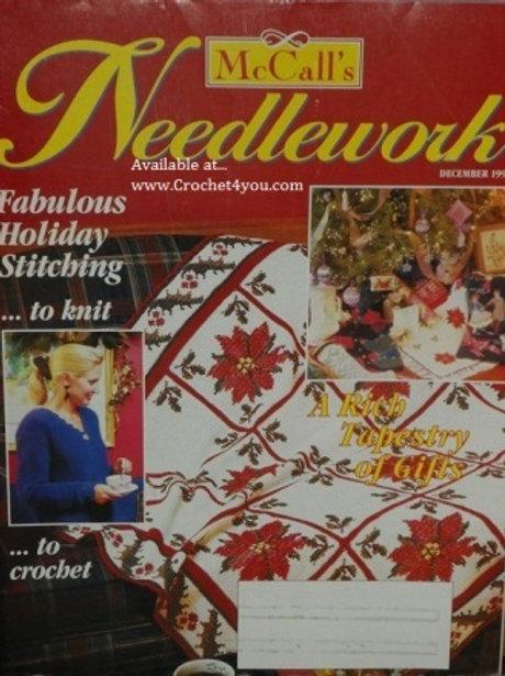 McCalls Needlework December 1993. Knitting Cross Stitch Crochet Tatting Patterns