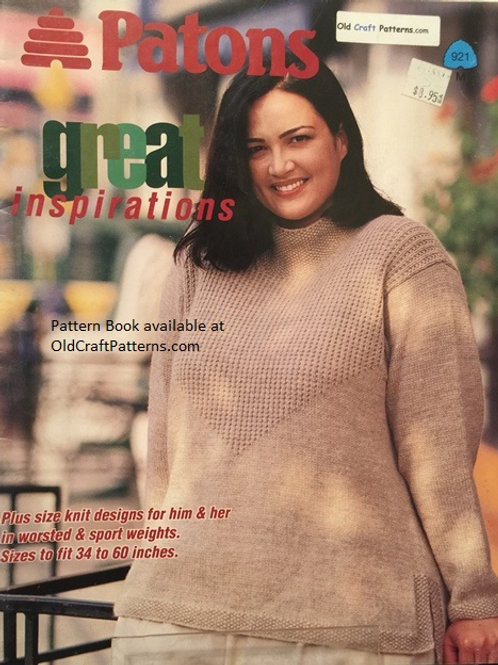 Patons 921. Inspirations - Plus Size Knit Designs - His Hers Knitting Patterns
