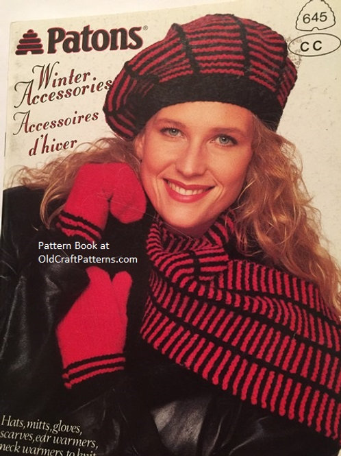 Patons 645. Winter Accessories - Hats Mitts Knitting Patterns