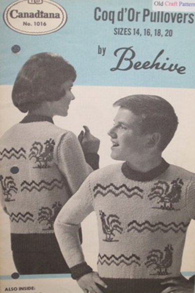 Patons Beehive 1016. Coq d'Or Pullovers - Knitting Patterns