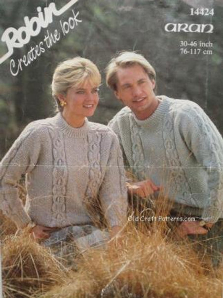 Robin 14424. Aran Knit His and Her Sweaters - Knitting Patterns