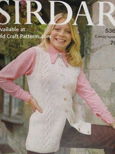 Sirdar 5364. Ladies Long Length Cabled Vest - Knitting Pattern