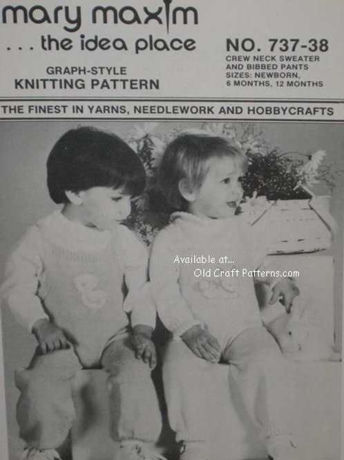 Mary Maxim 737. Baby Sweater and Bibbed Pants Knitting Patterns