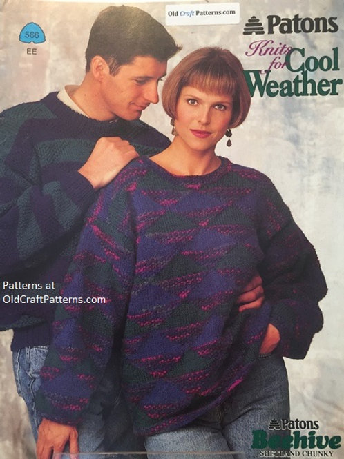 Patons 566. Knits for Cool Weather - Men and Ladies Knitting Swearter Patterns