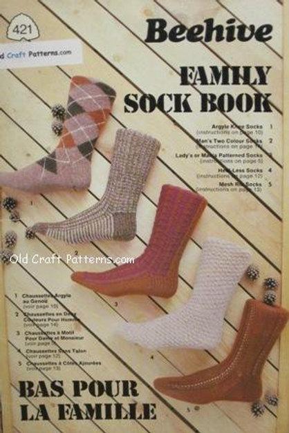 Patons 421. Family Sock Book - & Ski Hat Mitts Stockings Knitting Patterns