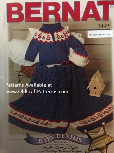 Bernat 1449. Baby Denims - Sailboat Cardigan Hat and Carriage Covers Patterns