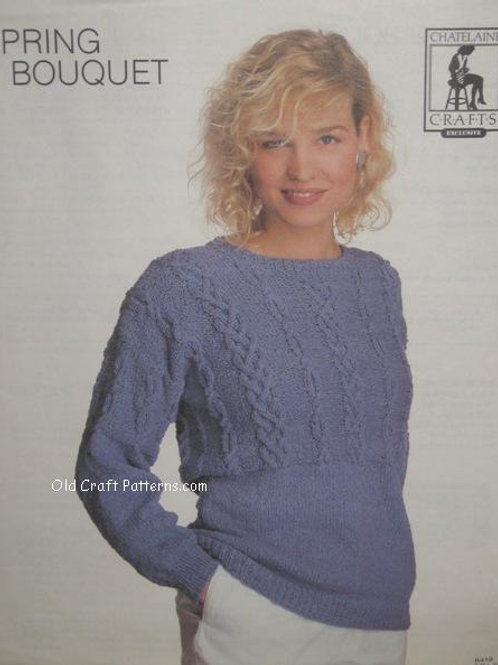 Chatelaine 419. Spring Bouquet  - Cabled Pullover Knitting Pattern