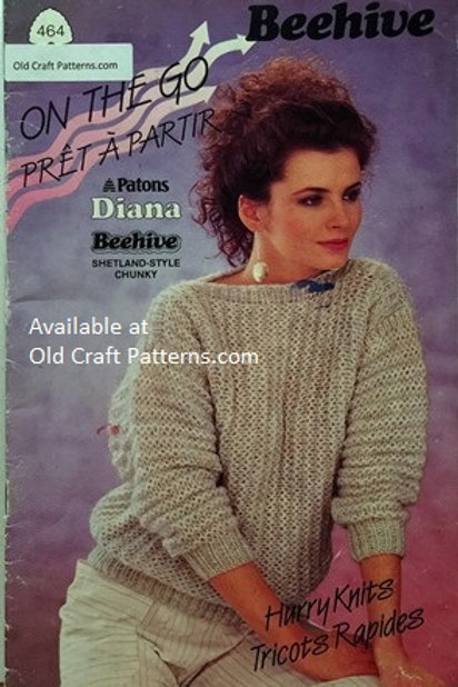 Patons 464. On the Go - Hurry Knits - Ladies Shetland Chunky Knitting Patterns
