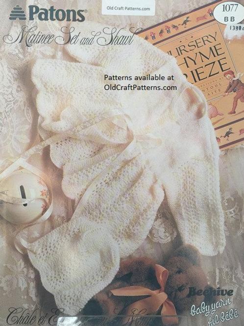 Patons 1077. Matinee Set and Shawl - Baby Knitting Patterns