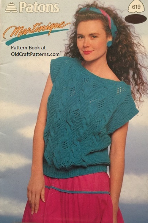 Patons 619. Martinique - Ladies Tops Knitting Patterns