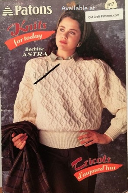 Patons 617. Knits for Today includes Aran Sweater & Vest Knitting Patterns