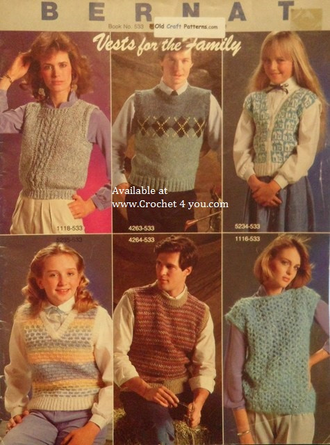 Bernat 533 Family Vests Knitting Patterns - Aran Argyle Fair Isle ...