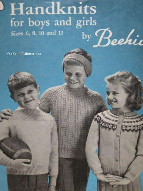 Patons 92 - Handknits for Boys and Girls Sweaters Skirt Hats Knitting Patterns
