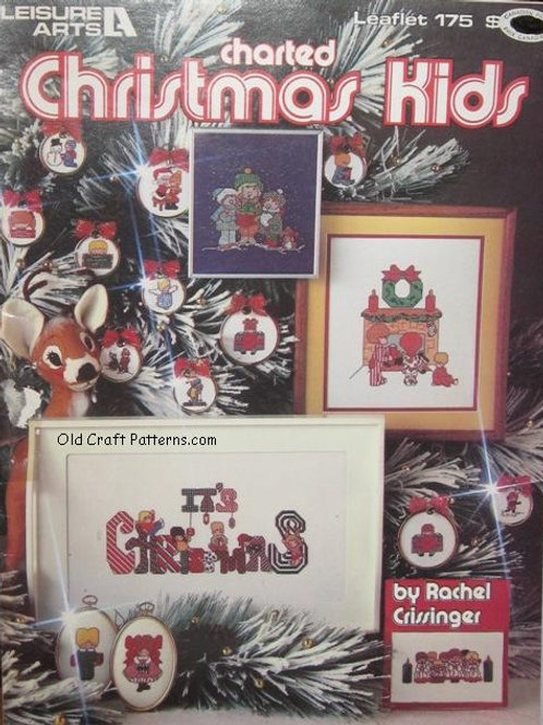 Leisure Arts 175. Charted Christmas Kids with Santa, Tree, Toy Shop and more