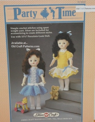 Fibre Craft 215 Party Time Doll Clothes Crochet Pattern