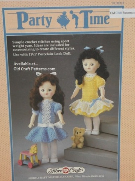 Fibre Craft 215. Party Time Doll Clothes - Crochet Pattern