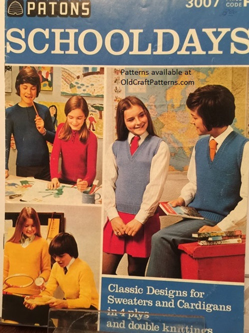 Patons 3007. School Days - Classic Sweaters Cardigans Youth Knitting Patterns