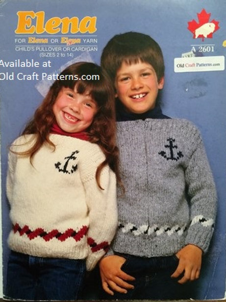 Elena 2601. Childs Pullover or Cardigan Knitting Patterns