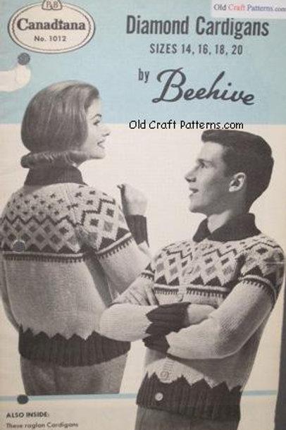 Patons Beehive 1012. Diamond Cardigans Knitting Patterns