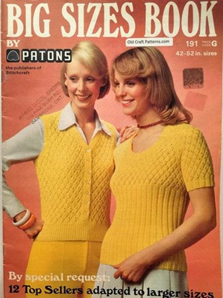 "Patons 191. Big Sizes Book Size 42"" to 52"" Mens Ladies Knitting Patterns"