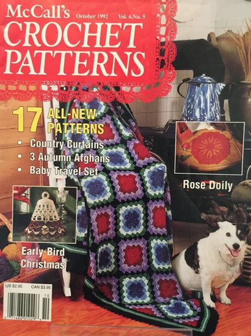 McCalls Crochet Patterns Oct 1992 Vol 6 Magazine Pattern Book