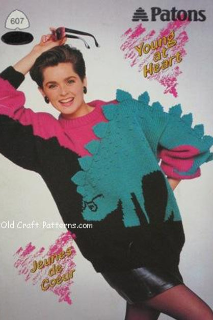 Patons 607. Young at Heart - Family Sweaters Deer Penquin Dinosaur Patterns