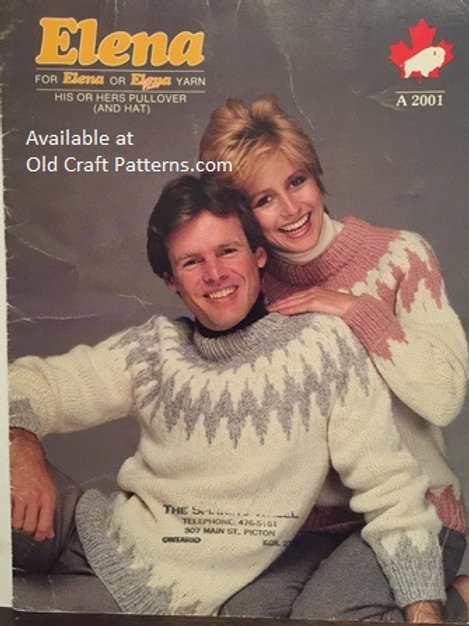 Elena A2001. His or Hers Fair Isle Pullover with Hat Knitting Patterns