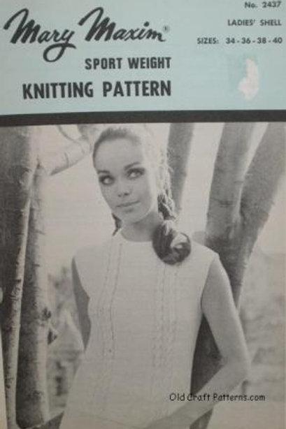 Mary Maxim 2437. Ladies Sleeveless Aran Knit Pullover Knitting Patterns