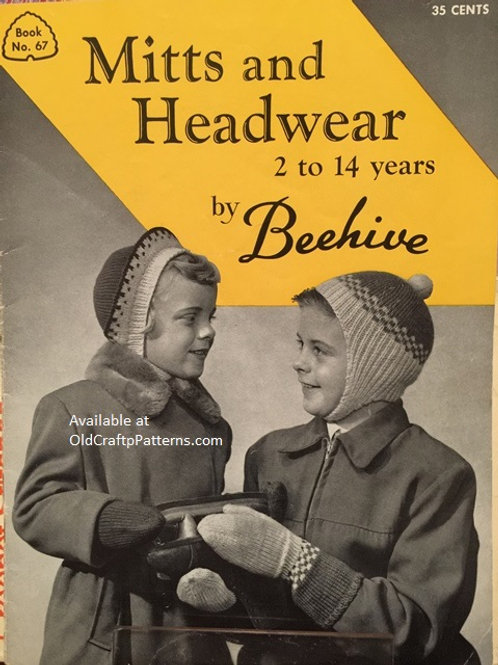 Patons 67 Mitts and Headwear 2 to 14 Years by Beehive