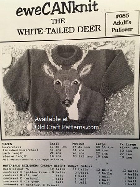 EweCANknit 85. The White Tailed Deer - Adult Pullover Knitting Pattern