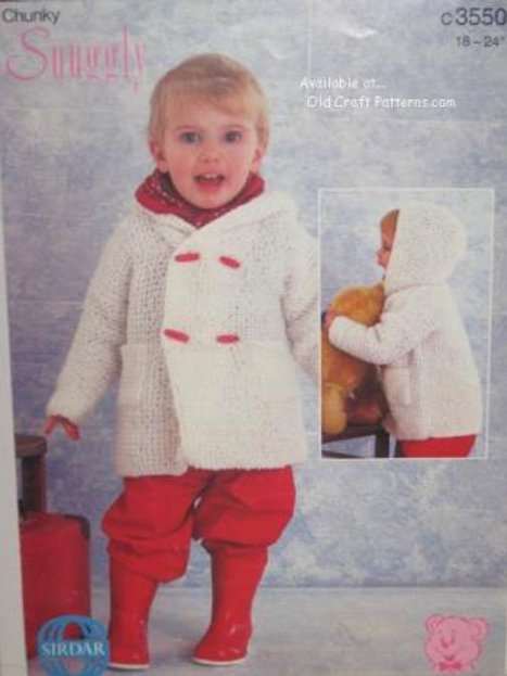 Sirdar 3550. Baby's Duffle Coat with Hood - Knitting Pattern