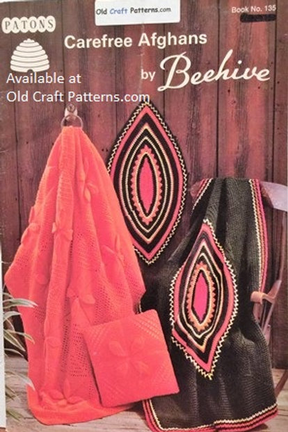 Patons 135 Carefree Afghans - 10 Afghan Patterns to Knit or Crochet